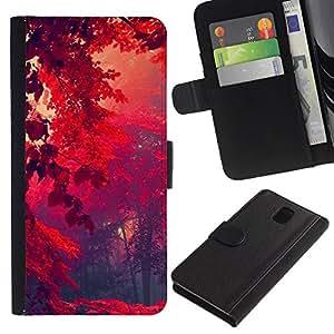 Stuss Case / Funda Carcasa PU de Cuero - Red Forrest - Samsung Galaxy Note 3 III
