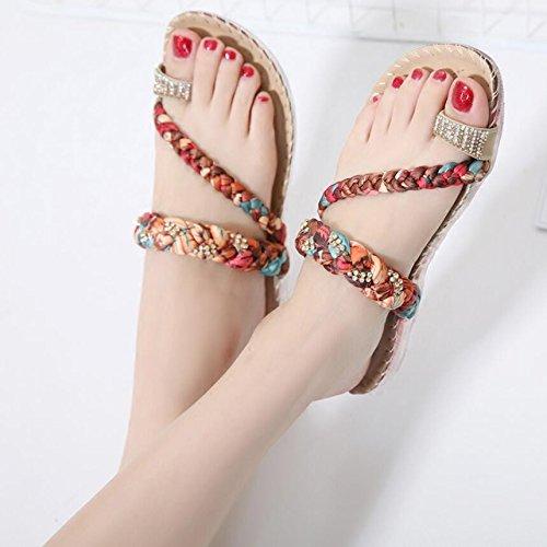 KHSKX-Rojo 2Cm Nacional De Feng Shui Brocas De Verano Clip Toe Sandalias Suave Cómodo Y Elegante Chica Sandalias Calzado De Playa 38