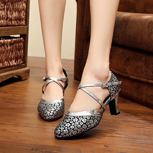 7 Floral Dames De Danse 5 Qj7044 Tango Chaussures Uk Pour Argent Synthtique Latin Minitoo Silver qH47gwx8n