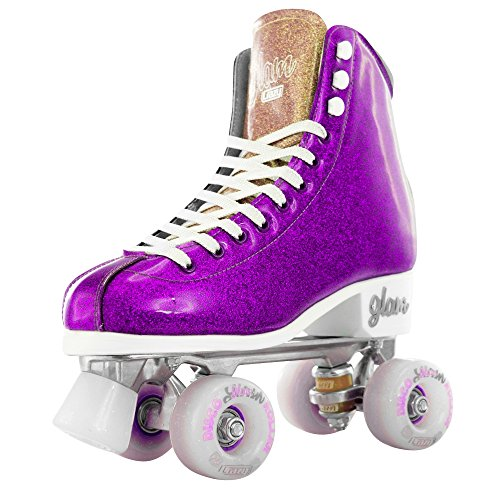 Crazy Skates Glam Roller Skates | Quad Wheel Retro Disco Style with Sparkle Finish Wheels | (Bullet Roller Skate)