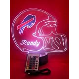 Buffalo Bills NFL Light Up Lamp LED Personalized Free Football Light Up Light Lamp LED Table Lamp, Our Newest Feature - Its WOW, With Remote, 16 Color Options, Dimmer, Free Engraved, Great Gift