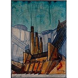 Vintage Italian Futurism ANTONIO SANT'ELIA La Centrale Elettrica c1914 250gsm A3 Gloss Art Card Reproduction Poster by World of Art