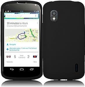 For T-Mobile Google Lg Nexus 4 E960 Silicone Jelly Skin Cover Case Black Accessory