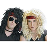 80's Heavy Metal Halloween Wigs 2 Pack  Blonde & Black (Small Image)