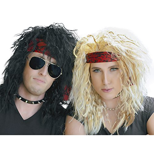 - 80s Heavy Metal Halloween Wigs - 2 Pack - Blonde and Black Wig - Rocker Costumes, Large