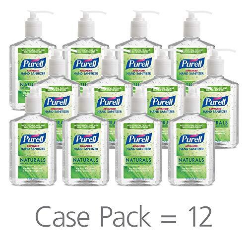 PURELL Advanced Hand Sanitizer Naturals with Plant Based Alcohol, Citrus Scent, 8 fl oz Pump Bottle (Pack of 12) - 9626-12-CMR