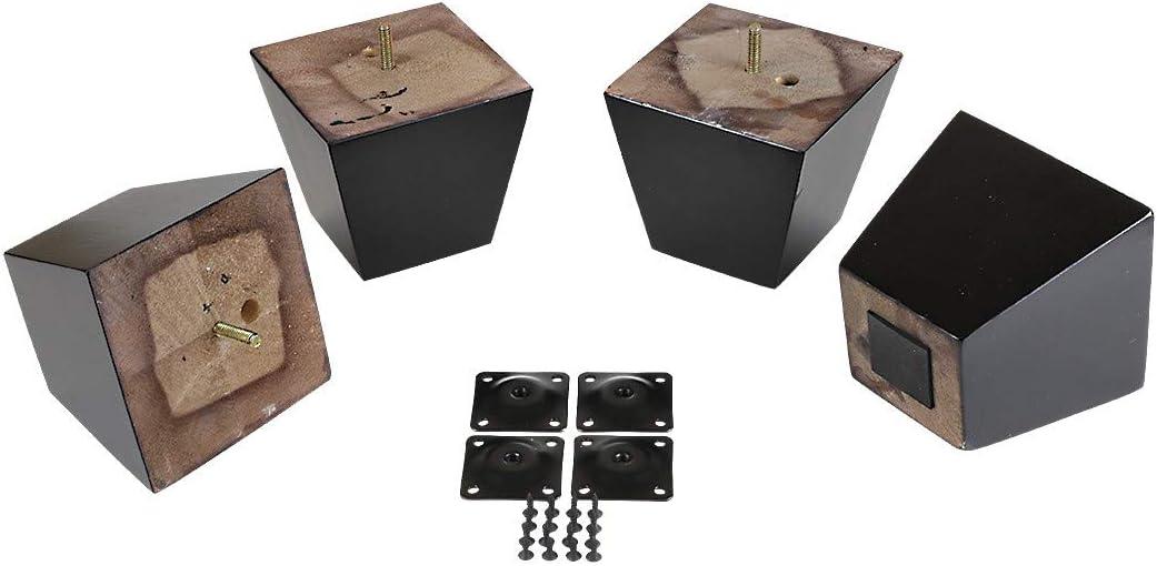 "ProFurnitureParts Espresso 4"" Tall Square Tapered Wood Sofa Legs w/Anti-Skid Pads, Leg Plates Included Set of 4"