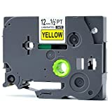 OLSUS Black on Yellow Label Tape P-Touch 12mm 8M Label Maker - Dark Grey
