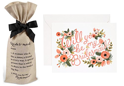 Rifle Paper Co Bridesmaid Card & Mud Pie Ask Bag Set (1 Card & 1 Bag)