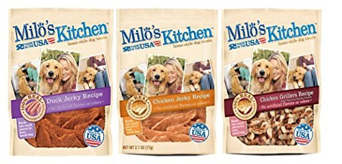 Milo's Kitchen Home-Style Dog Treats 3 Flavor Variety Bundle: (1) Duck Jerky Recipe, (1) Chicken Grillers Recipe With Natural Smoke Flavor, and (1) Chicken Jerky Recipe, 2.7 Oz. Ea. (3 Bags Total)
