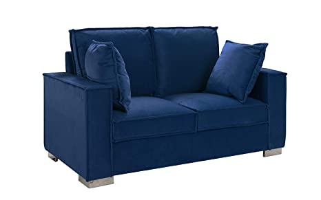 Classic Brush Microfiber Sofa, Small Space Loveseat Couch (Navy Blue)