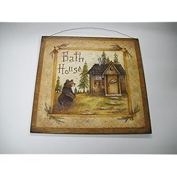 Amazon.com: Bear Bath House Wooden Bathroom Wall Art Sign ...