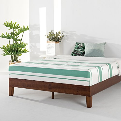 "Best Price Mattress 12"" Grand Soild Wood Platform Bed Frame w/Wooden Slats (No Box Spring Needed), King Size, Antique Espresso"