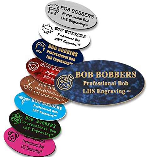 LHS My Business | Name Badges Magnetic Backs - Custom Engraved Celestial Blue Plastic Nametag with Gold Lettering Personalized in The USA - S1]()