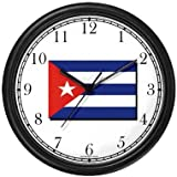 Flag of Cuba - Cuban Theme Wall Clock by WatchBuddy Timepieces (Slate Blue Frame)