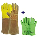 WOMUL Safety gloves set (1pair Animal Handling gloves + 1pair heat resistant bbq silicone gloves )