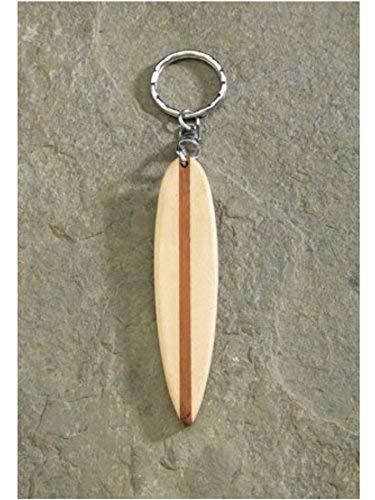 Wooden 9cm White Surfboard Keychain