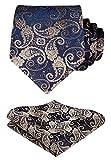 HISDERN Paisley Tie Handkerchief Woven Classic Men's Necktie & Pocket Square Set,Gold & Navy Blue,One Size