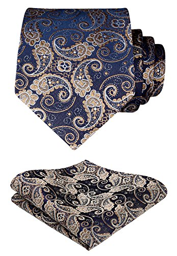 - HISDERN Paisley Tie Handkerchief Woven Classic Men's Necktie & Pocket Square Set,Gold & Navy Blue,One Size