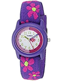 Girls T89022 Time Machines Purple Floral Elastic Fabric Strap Watch