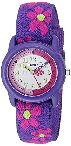 Timex Kids T89022 Time Teacher Purple/Pink Flowers Resin Watch Elastic Fabric Strap - Timex Water Resistant Watch