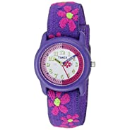 Timex Kids T89022 Time Teacher Purple/Pink Flowers Resin Watch Elastic Fabric Strap