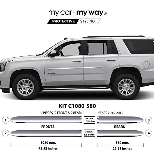 Price comparison product image MY CAR MY WAY (Fits) GMC Yukon 2015-2019 Chrome Body Side Molding Cover Trim Door Protector