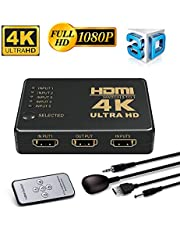 Conmutador HDMI 4K, Neefeaer 5 Puertos HDMI Switcher Splitter Soporte 4K @ 30Hz / 2K / 1080P / 3D con Control Remoto por Infrarrojos 5 entradas 1 Salida