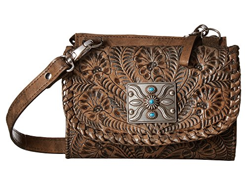 American West Women's Two Step Small Crossbody Bag Distressed Brown One Size