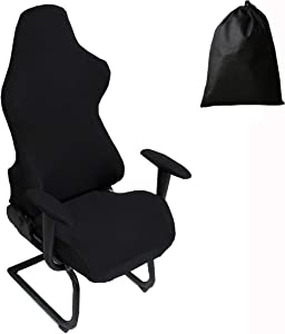 LJNGG Office Computer Game Chair Cover Armchair Gaming Chair Stretch Protector Slipcover Arm Rest Cover (Black)