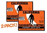 California-SASQUATCH HUNTING PERMIT LICENSE TAG DECAL TRUCK POLARIS RZR JEEP WRANGLER STICKER 2-PACK!-CA