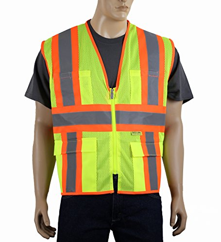 safety-depot-class-2-ansi-approved-safety-vest-breathable-mesh-4-lower-pockets-2-chest-pockets-with-