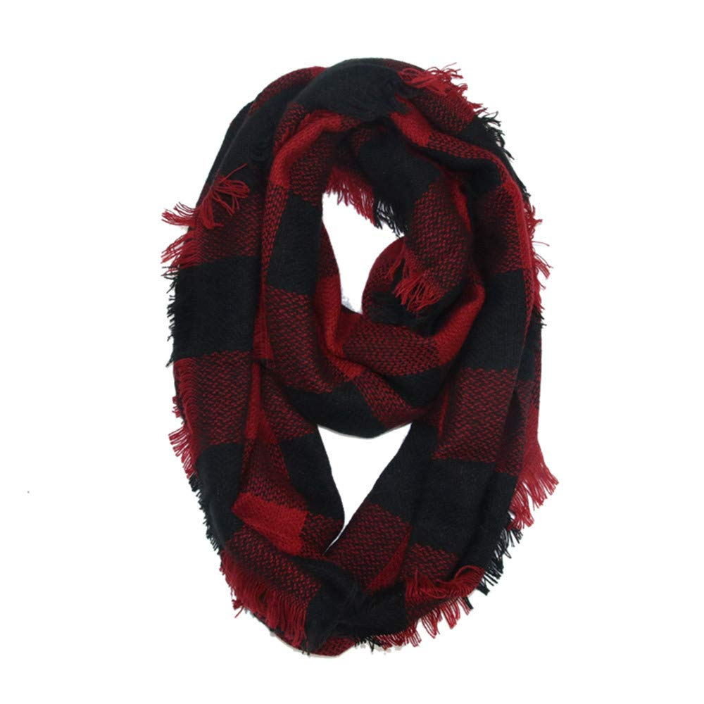Women Winter Warm Soft Neck Scarf Stylish Winter Warm Plaid Ring Neck Warmer Wrap Collar Scarf TM Jchen