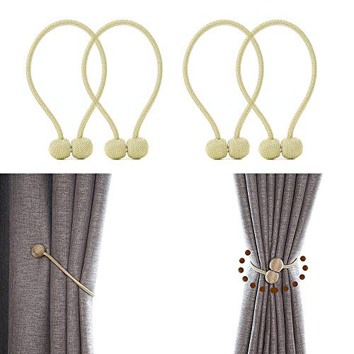 JQWUPUP Magnetic Curtain Tiebacks - Classic Decorative Drapery Holdbacks Holders Rope for Drape - Curtain Tie Back Clips for Sheer and Blackout Curtain (4 Pieces, Gold) (Decorative Holdback)