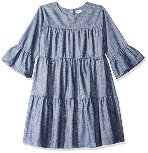 Gymboree Girls' Big Bell Sleeve Casual Woven Dress, Chambray Lurex 4