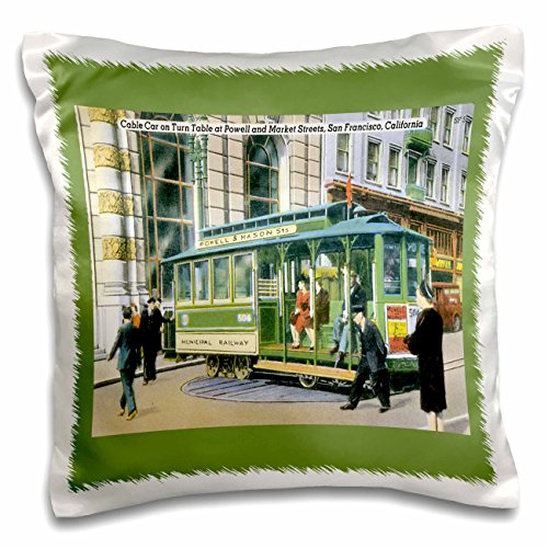 BLN Vintage US Cities and States Postcards - Cable Car on Turn Table at Powell and Market Streets, San Francisco, California - 16x16 inch Pillow Case - Powell Francisco San Street One