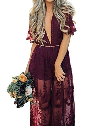 Boho Chic Dress - Eleter Women's Deep V-Neck Lace Romper Short Sleeve Long Dress (L,Wine Red)