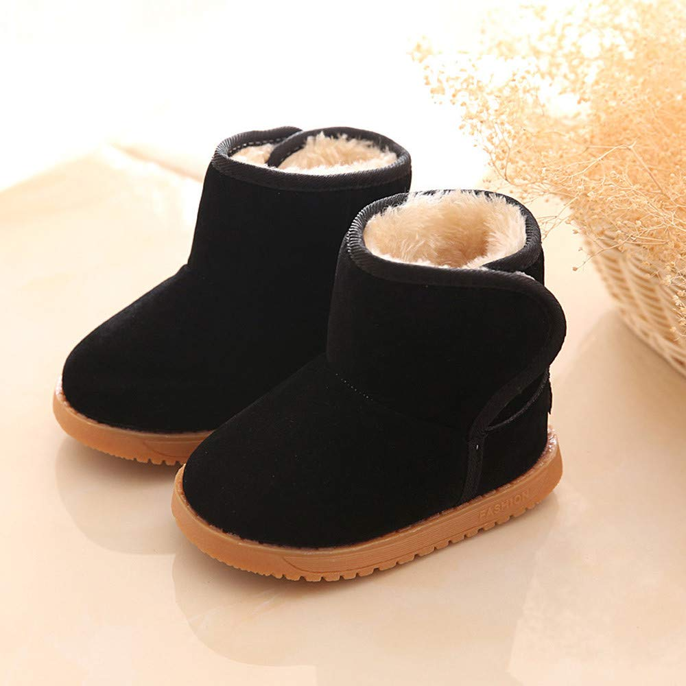 EINCcm Kids Girls Boys Warm Winter Flat Shoes Bailey Button Snow Boots Faux Fur Lined Mid Calf Girls Boys Lovely Hiking Boots
