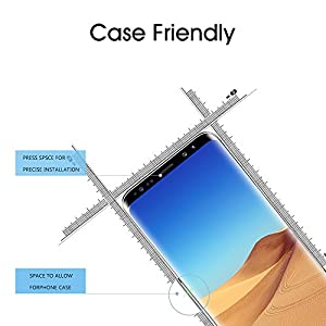 """OTAO Galaxy S9 Screen Protector Tempered Glass, [Update Version] 3D Curved Dot Matrix [Full Screen Coverage] Samsung Galaxy S9 Screen Protector(5.8"""") with Installation Tray [Case Friendly] from OTAO"""
