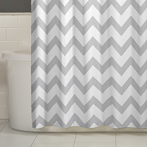 well-wreapped MAYTEX Chevron Fabric Shower Curtain, Grey, 70 X 72 Inch, Geometric