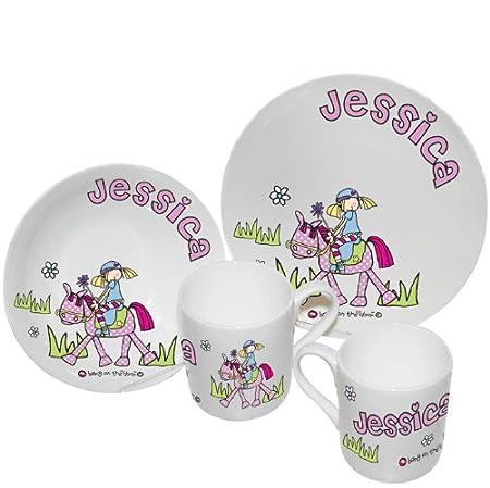 Personalised Childrens Breakfast Set - Pony Design Kids Dinner Set Childrens Tablewear Kids  sc 1 st  Amazon UK & Personalised Childrens Breakfast Set - Pony Design Kids Dinner Set ...
