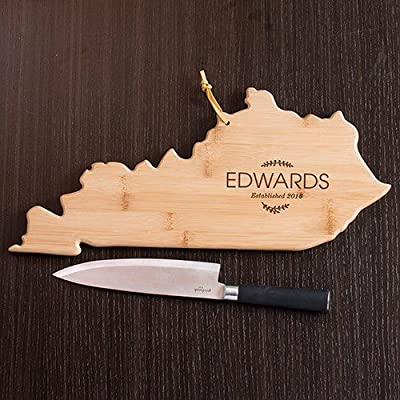"Personalized Family Name Kentucky State Cutting Board, 18"" W x 8.5""  L, Bamboo"