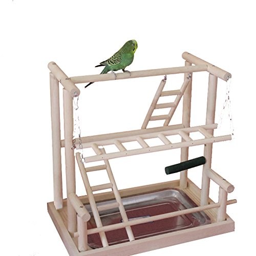 Playstand Cage Top - QBLEEV Bird's Nest Bird Perches Play Stand Gym Parrot Playground Playgym Playpen Playstand Swing Bridge Tray Wood Climb Ladders Wooden Conure Parakeet Macaw (No Breeding Box(16