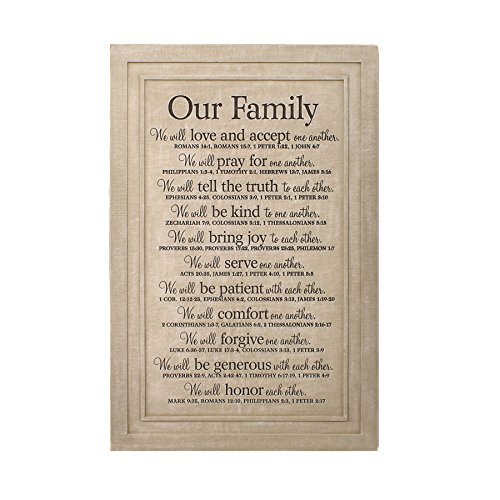 Lighthouse Christian Products Large Our Family Wall Plaque, 11 1/4 x 16 3/4″