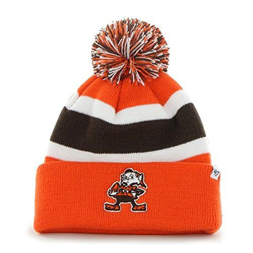 Cleveland Browns Orange Cuff ''Breakaway'' Beanie Hat with Pom - NFL Cuffed Winter Knit Toque Cap by '47