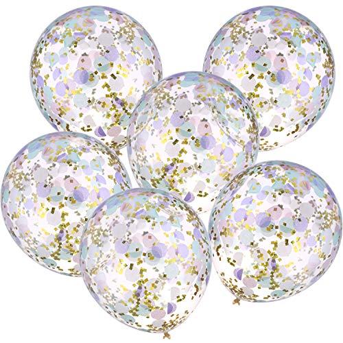 Jovitec 12 Piezas de Globos con Confeti 12 Pulgadas de Globos de Latex con Confeti Rosa Morado Verde Dorado para Decoracion de Boda Fiesta de Cumpleanos Unicornio Sirena