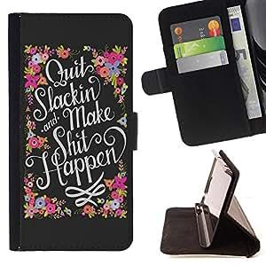 - Shit Happen - - Monedero PU titular de la tarjeta de cr?dito de cuero cubierta de la caja de la bolsa FOR Sony Xperia Z1 L39 Retro Candy
