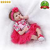 """NPK Reborn Baby Dolls Girl Realistic Silicone Vinyl Rose Red Outfit 22"""" Weighted Body Gift Set for age 3+"""