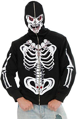 Boys Small 27-28 6-Pack Of Skulls Costume Hoodie Sweatshirt (Skeleton Hoodie Teen Costume)