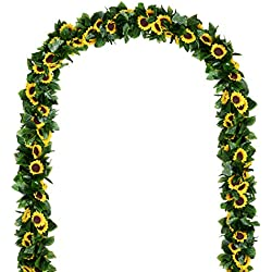 2 Pack Artificial Sunflower Garland Silk Each Strand 7.2 FT with 10 Flowers,Fake Silk Sunflower Vine Artificial Flowers with Green Leaves Wedding Table Decor
